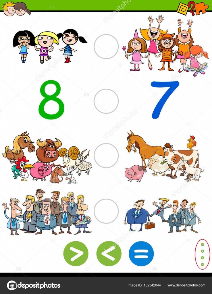 Cartoon-größer, kleiner oder gleich Spiel — Stockvektor © izakowski ...