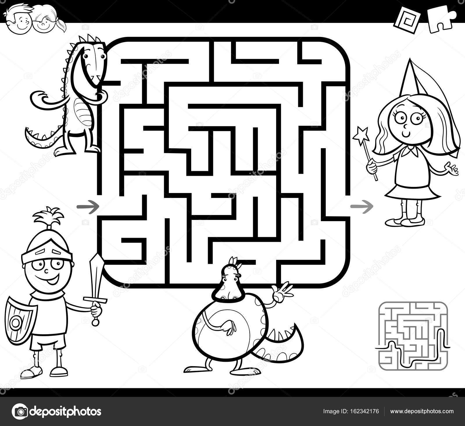 Aktivität-Labyrinth-Spiel mit Fantasy-Charaktere — Stockvektor ...