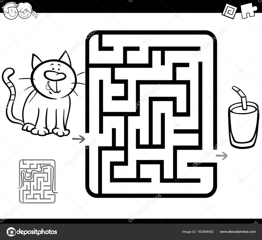 Kedi Ve Süt Ile Labirent Etkinlik Oyunu Stok Vektör Izakowski