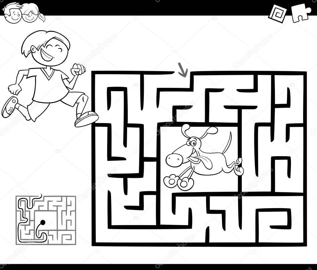 Лабиринт игра действия с мальчик и собака — Векторное ...