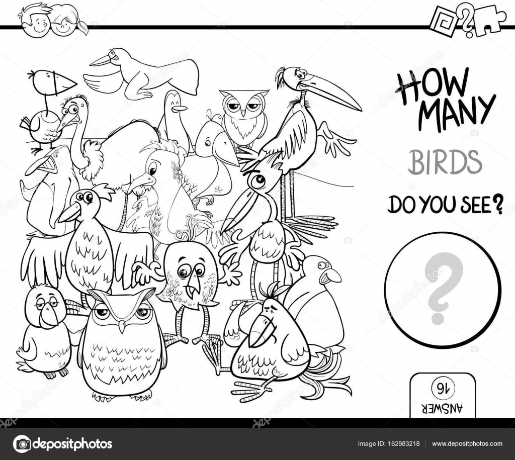 counting birds coloring book activity — Stock Vector © izakowski ...