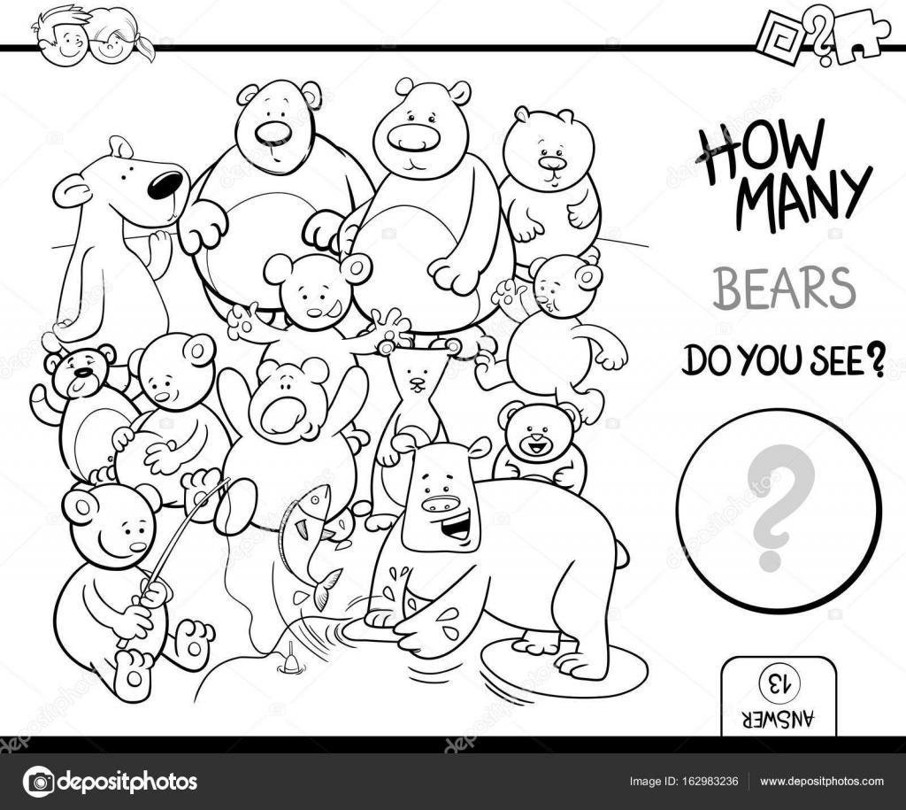 conteo de actividad de libro de colorear de osos — Archivo Imágenes ...