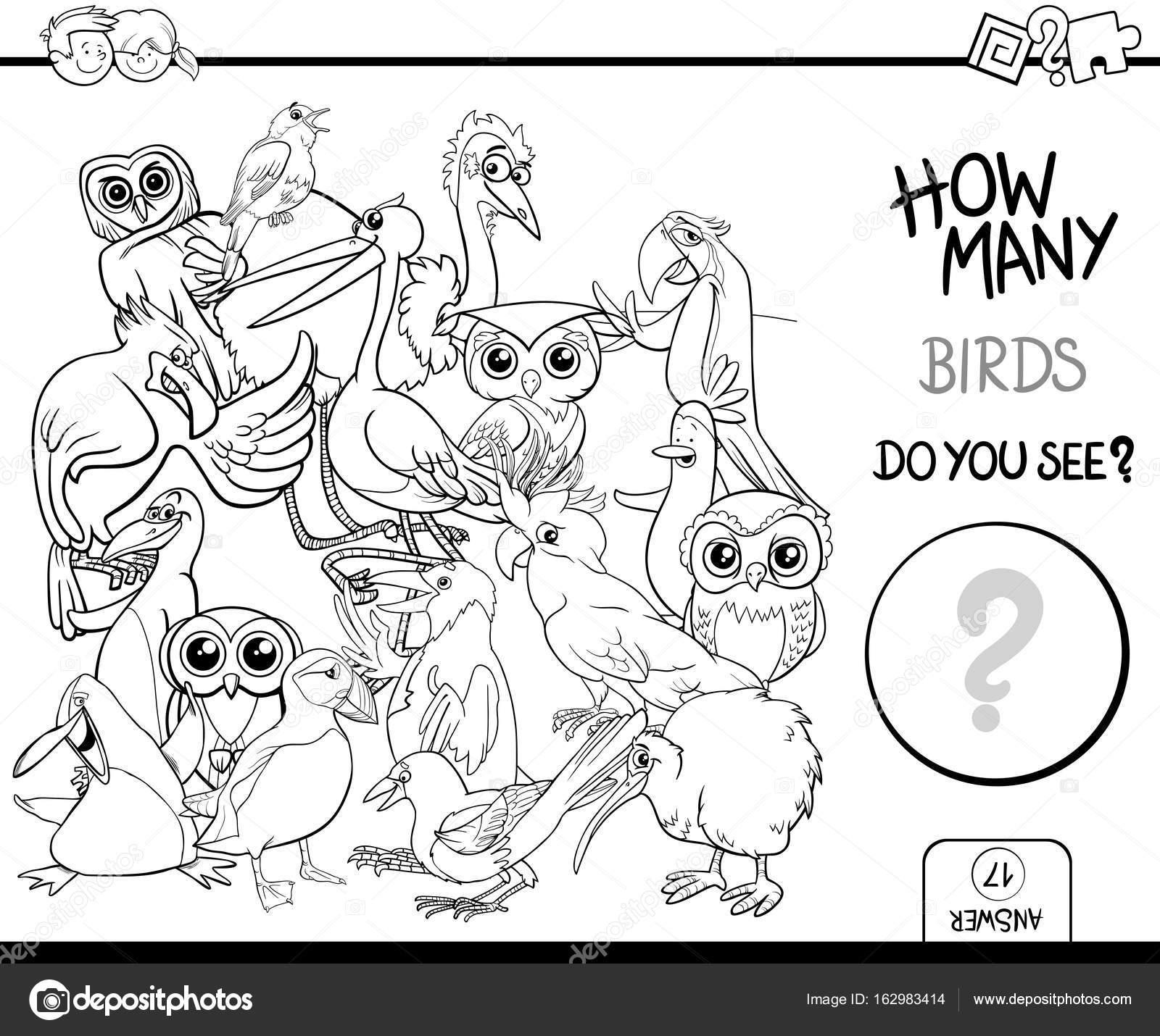 Vögel Malvorlagen Seite Aktivitäten zählen — Stockvektor © izakowski ...