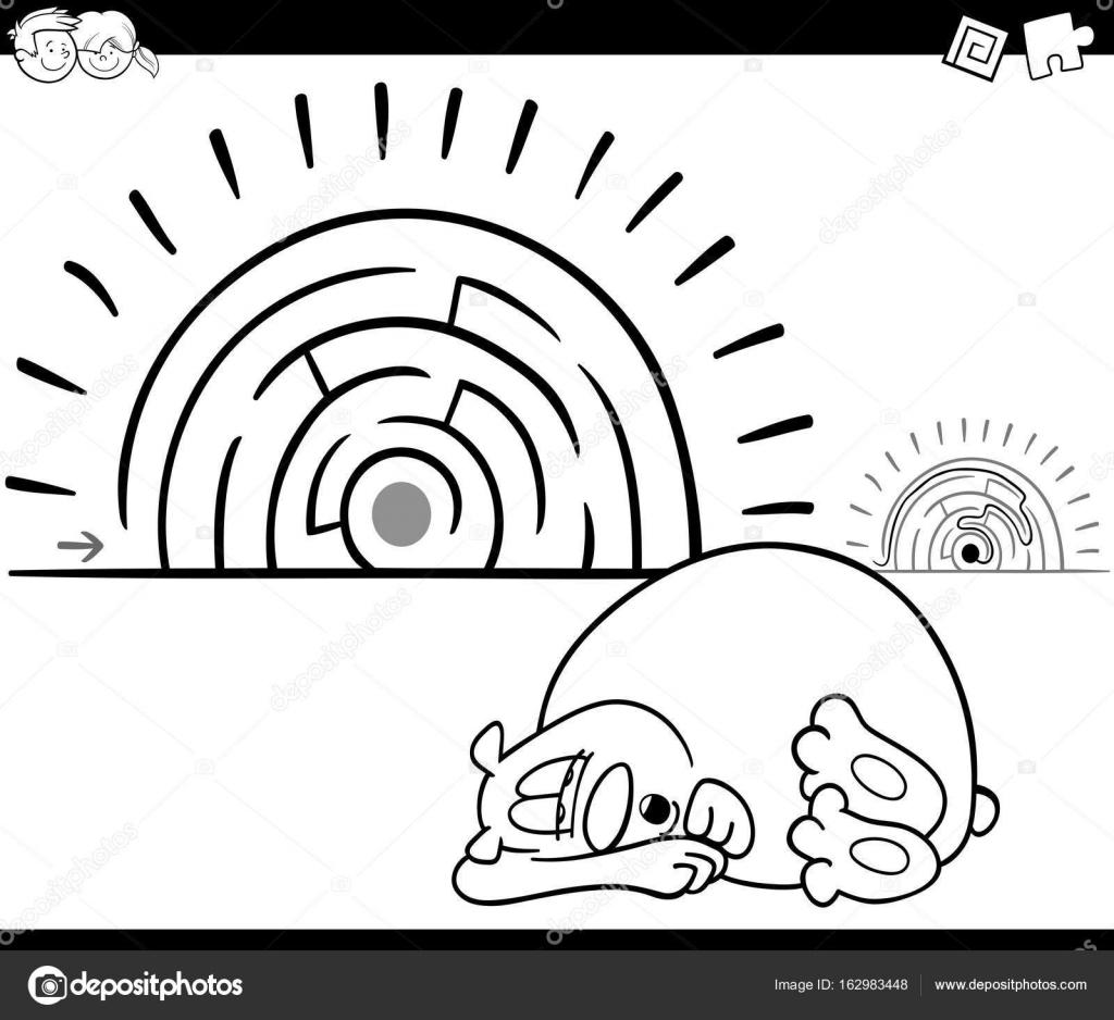 juego de la actividad del laberinto con oso el dormir — Vector de ...