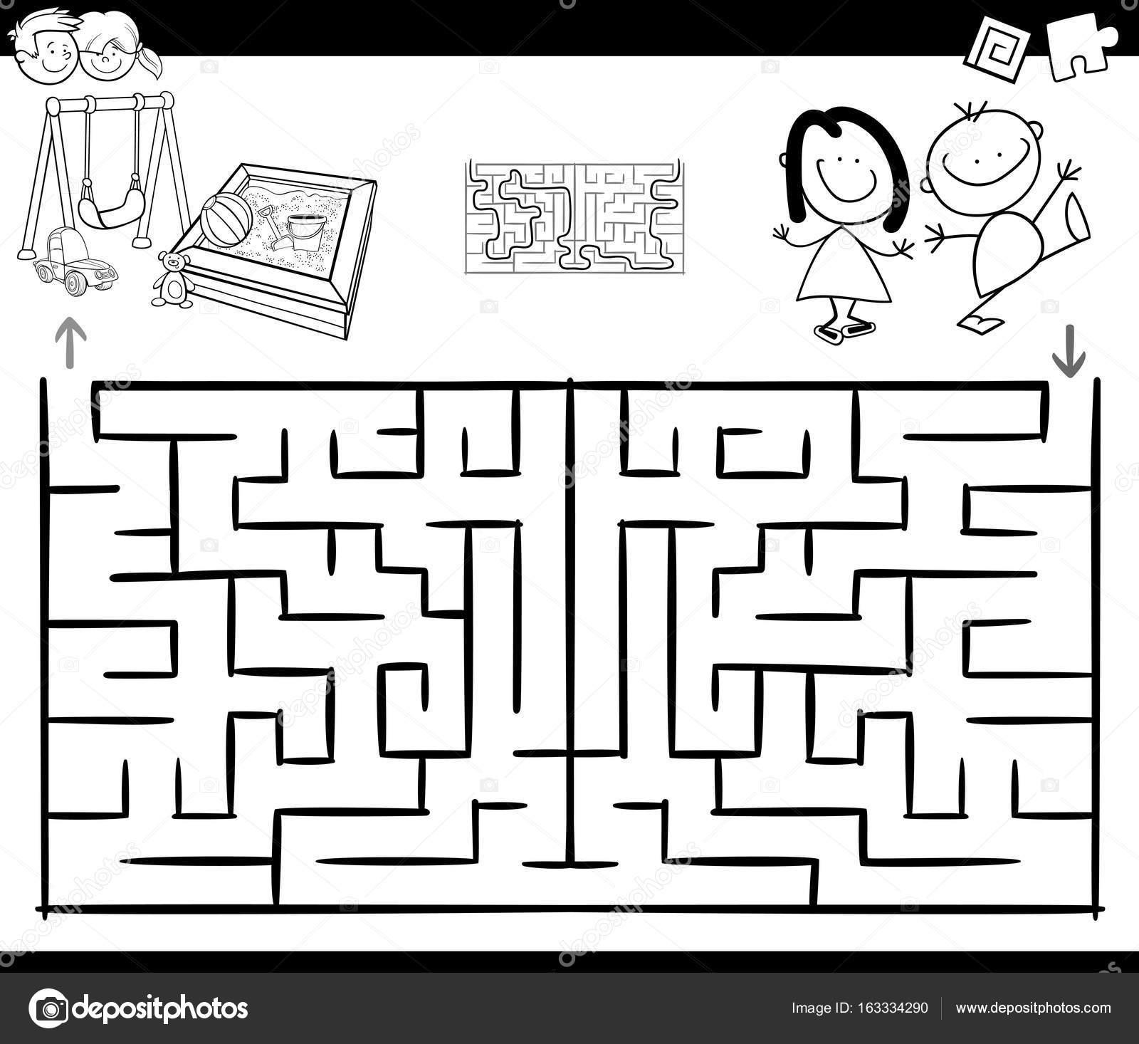 Activiteit Doolhofspel Met Kinderen En Speeltuin Stockvector