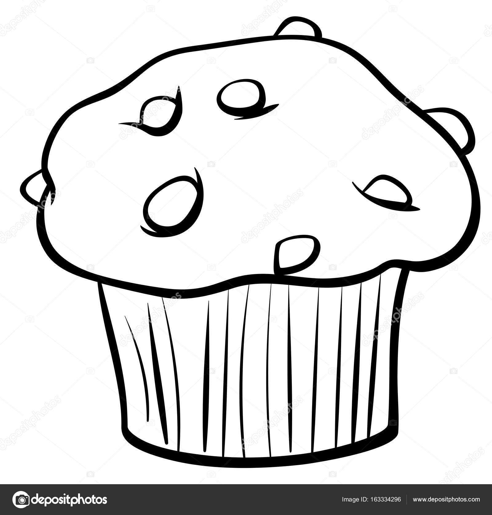 Muffin çikolata Boyama Kitabı Ile Stok Vektör Izakowski 163334296