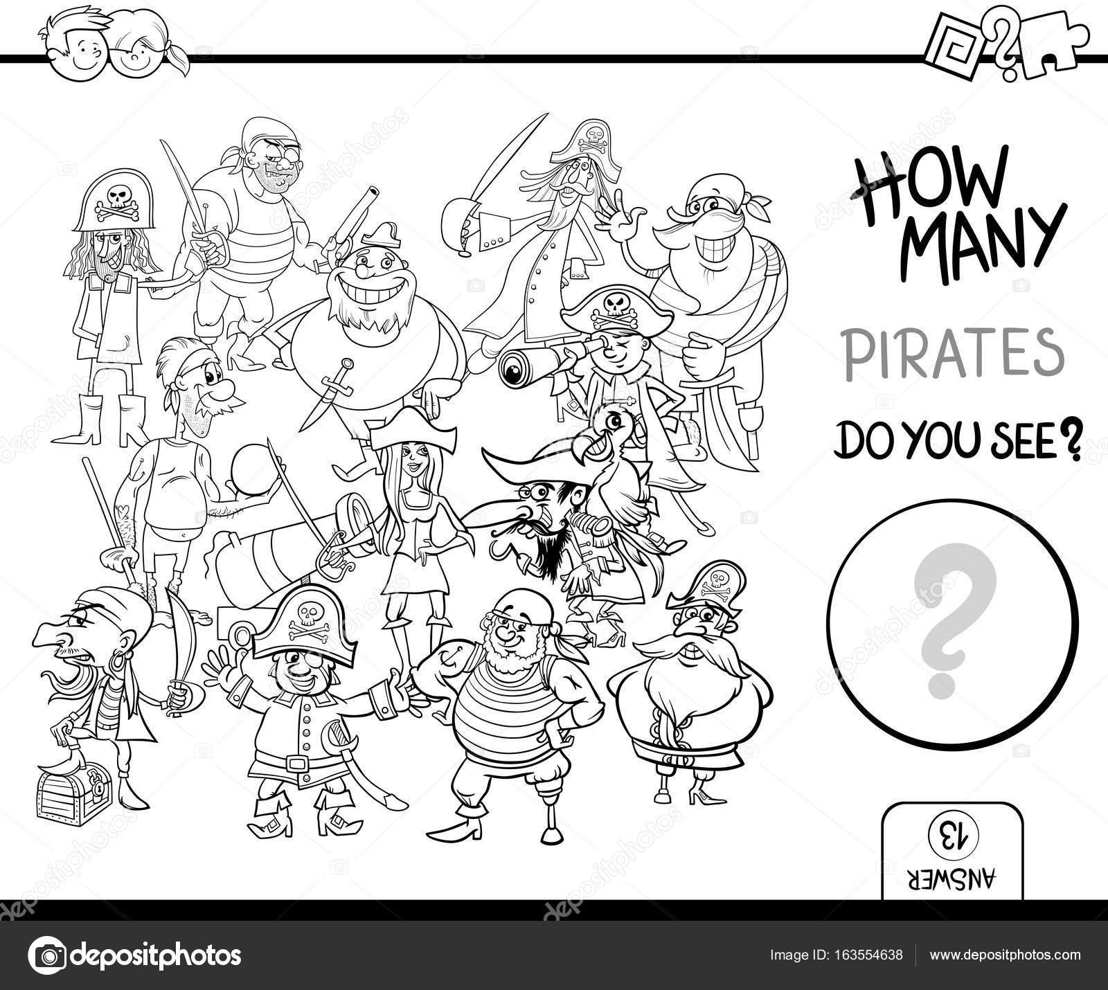 Piraten Malvorlagen Seite Aktivitäten Zählen Stockvektor