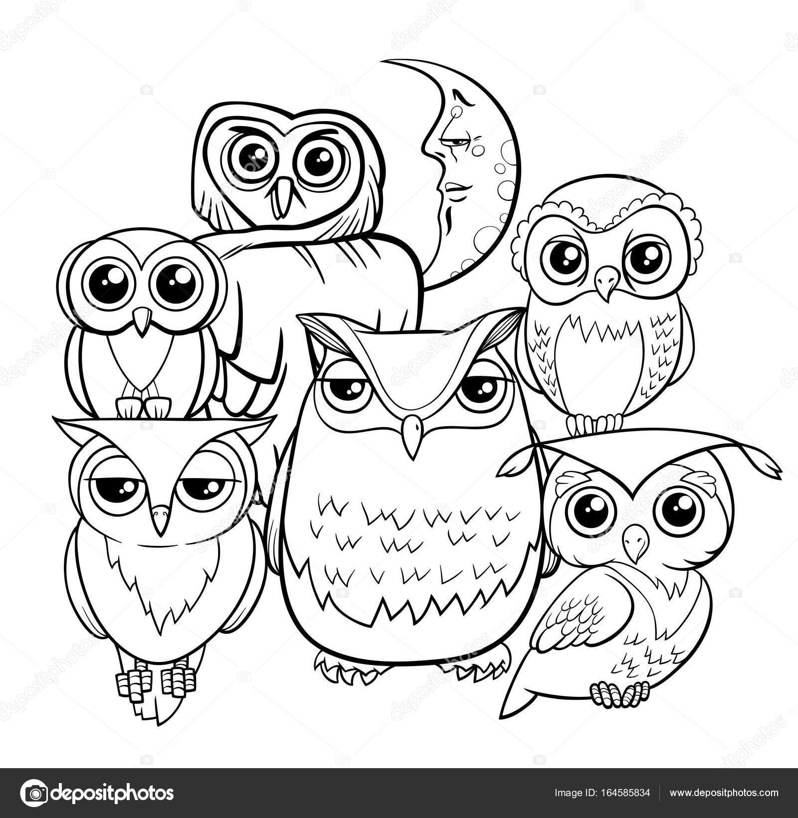 Baykuşlar Grup çizgi Film Karakterleri Boyama Kitabı Stok Vektör