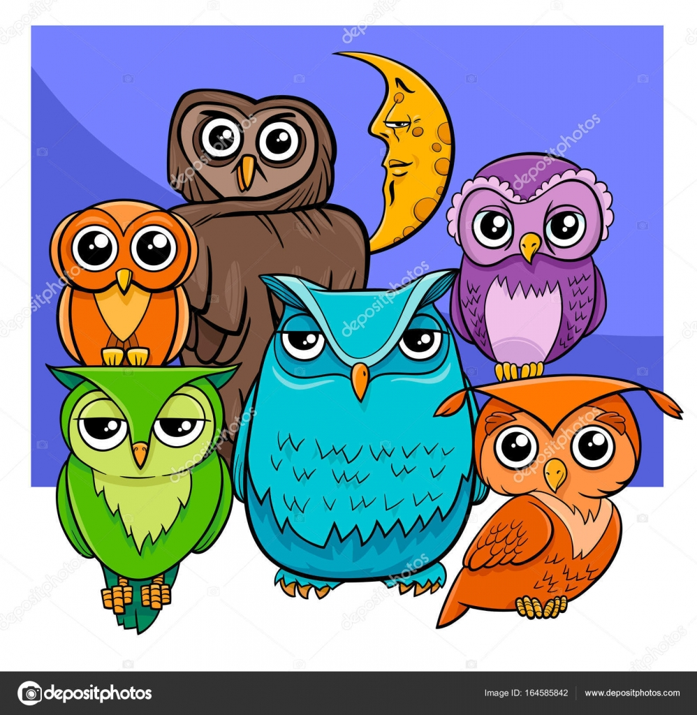 Owls Group Cartoon Animal Characters Stock Vector C Izakowski 164585842