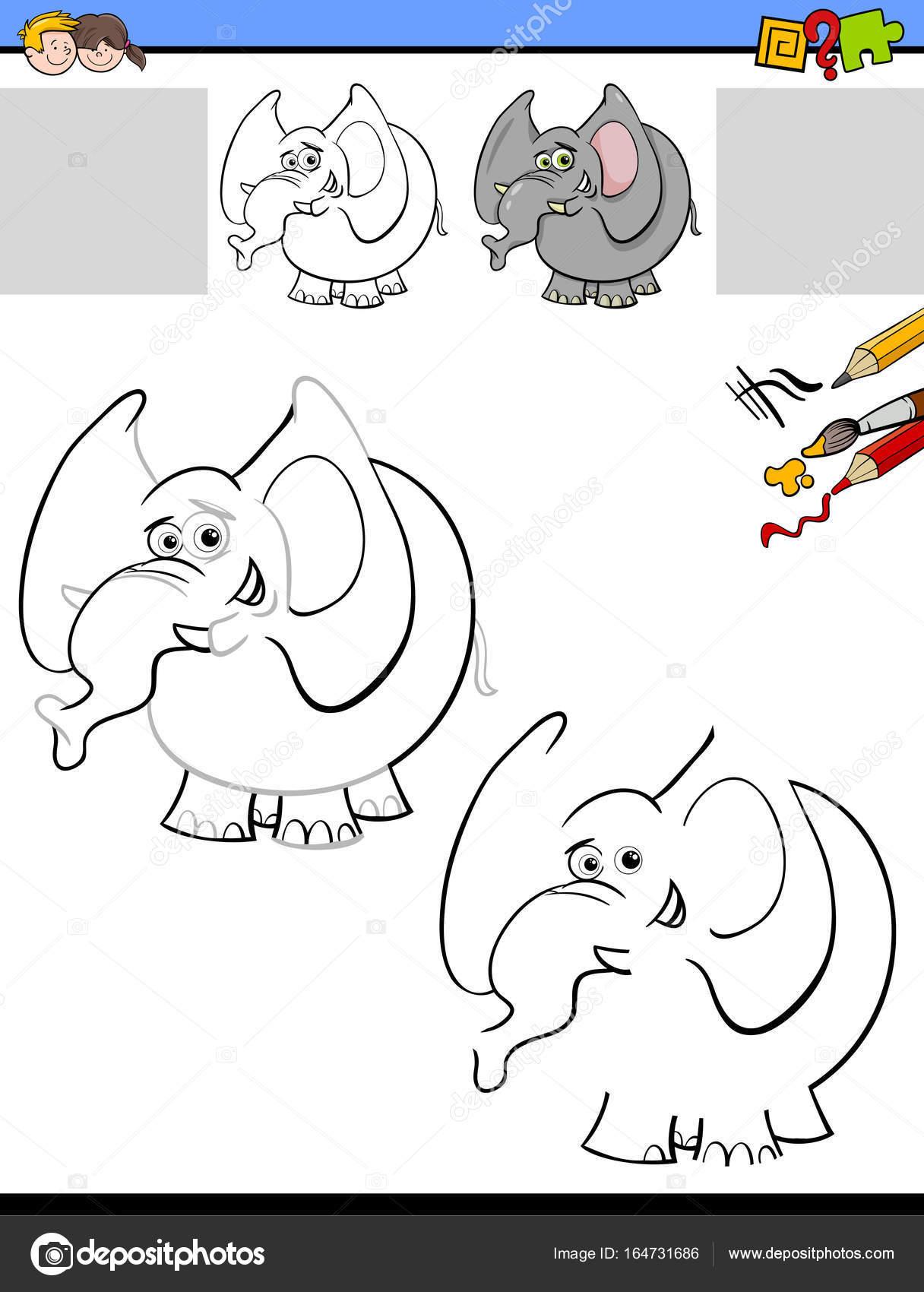 dibujar y colorear la hoja de cálculo con elefante — Archivo ...