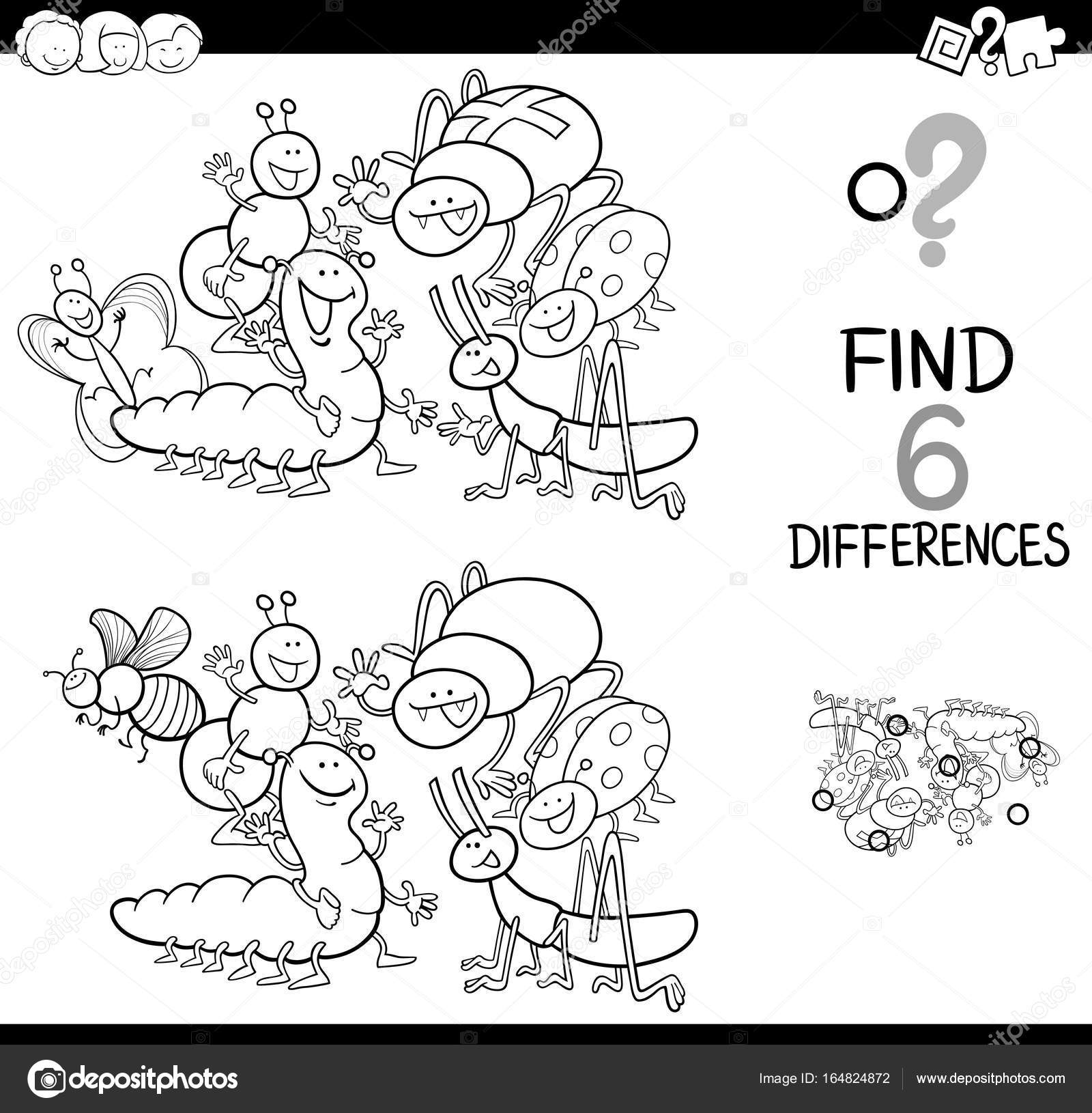 Illustration Of Spot The Differences Educational Activity Game For Children With Insects Animal Characters Group Coloring Book Vector By Izakowski