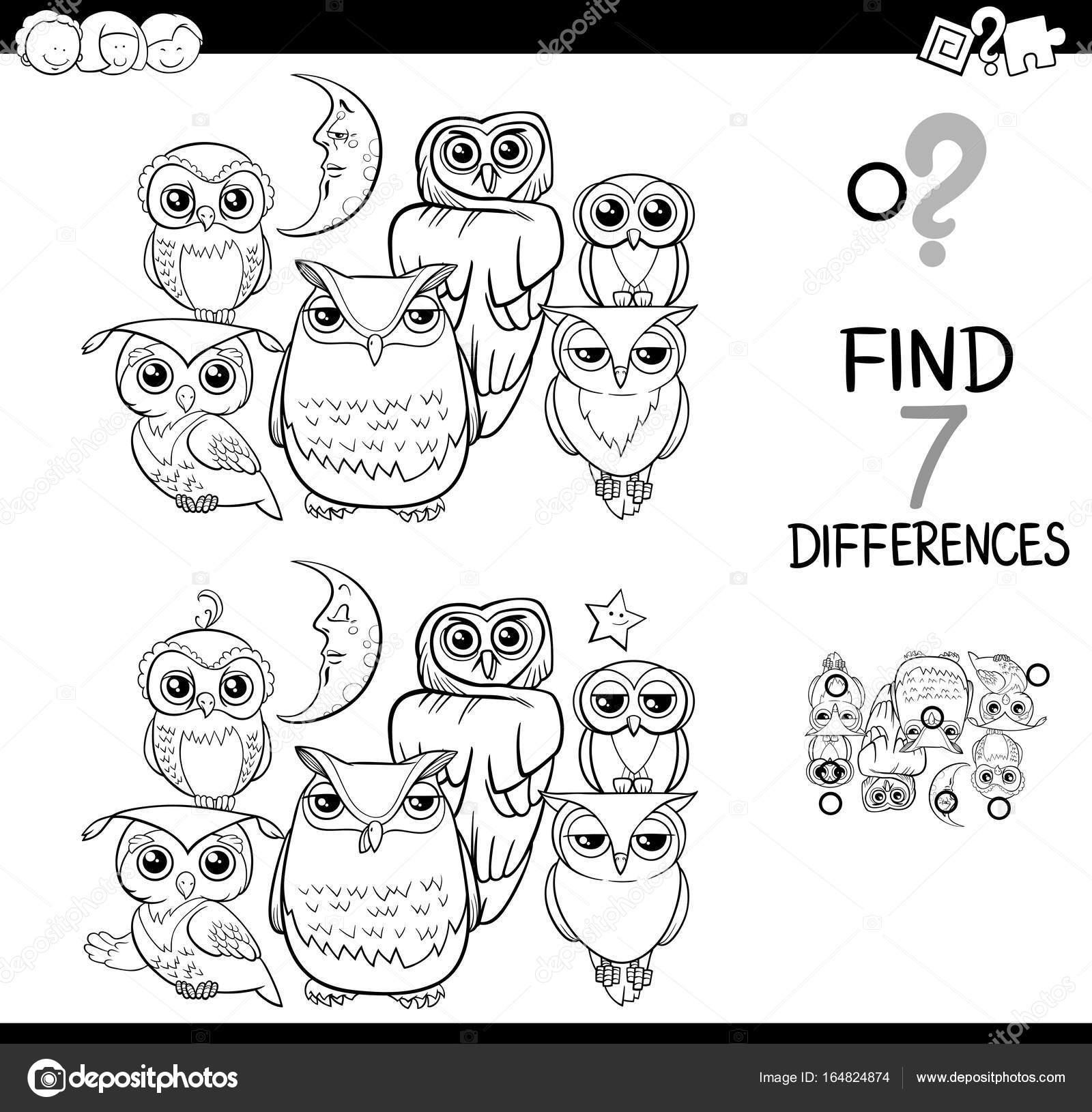 busca las diferencias con libro para colorear de búhos — Vector de ...