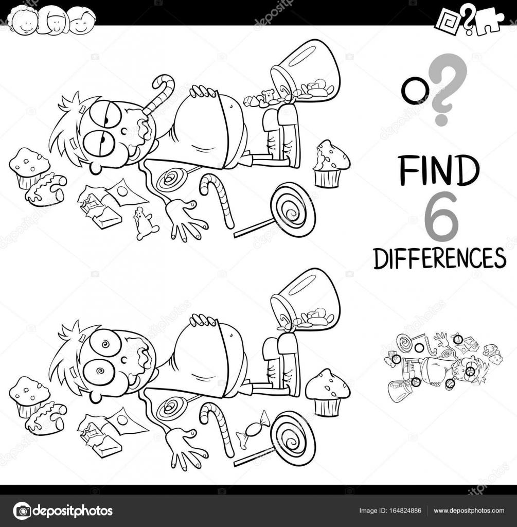 diferencias con niño y libro para colorear de dulces — Vector de ...