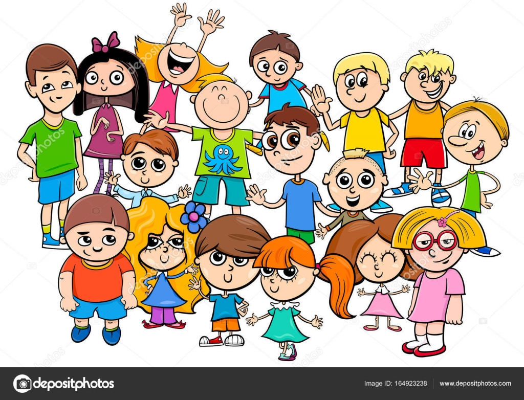 Group Of 6 Cartoon Characters : Children characters group cartoon illustration — stock