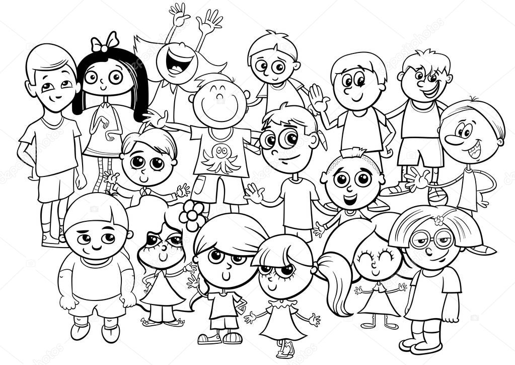 livre de coloriage enfants personnages groupe — Image ...
