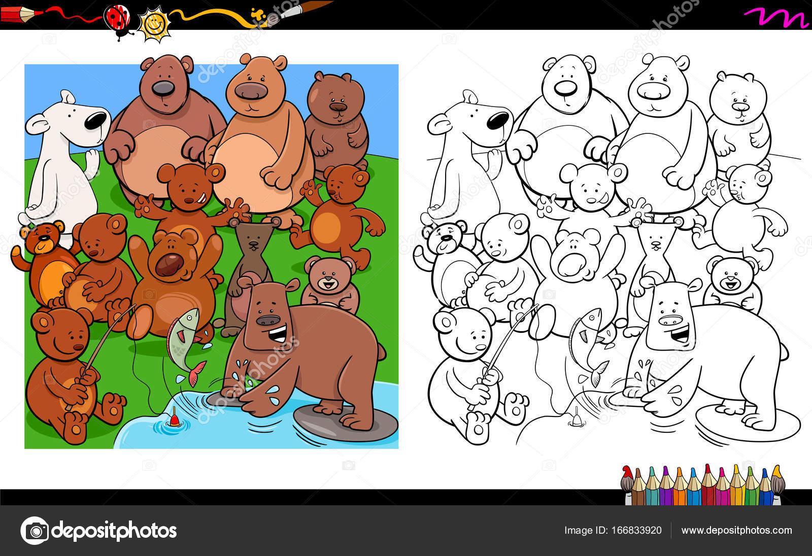 libro para colorear de osos personajes grupo — Vector de stock ...