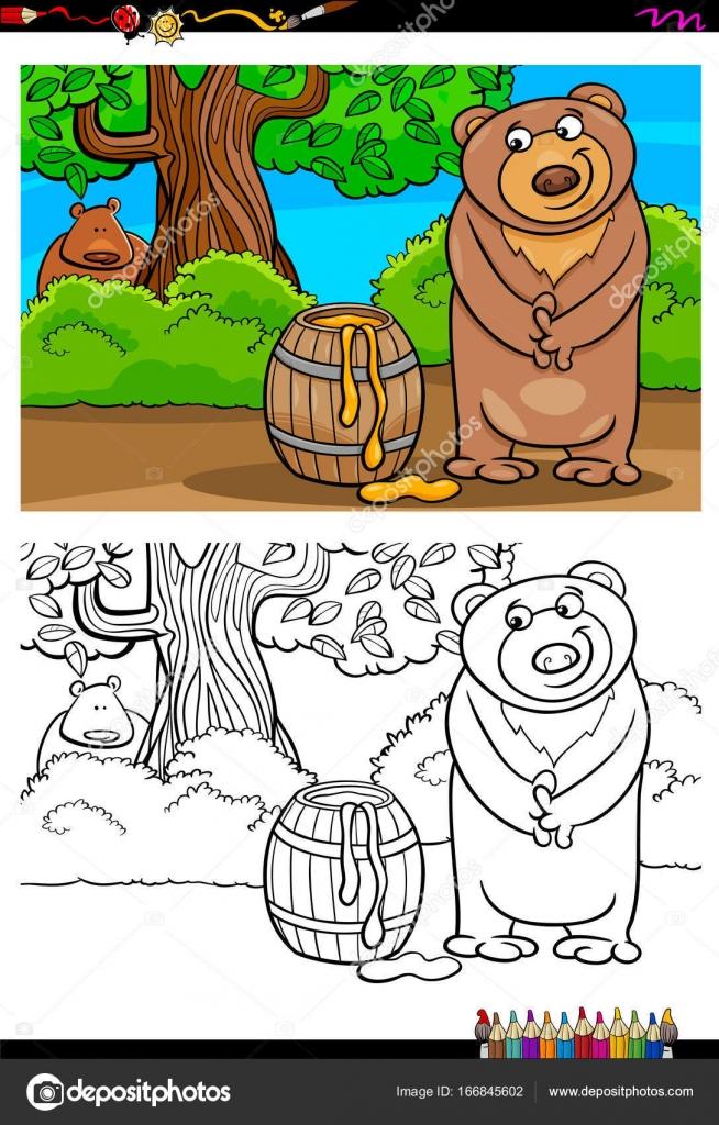 oso de dibujos animados con miel para colorear libro — Vector de ...