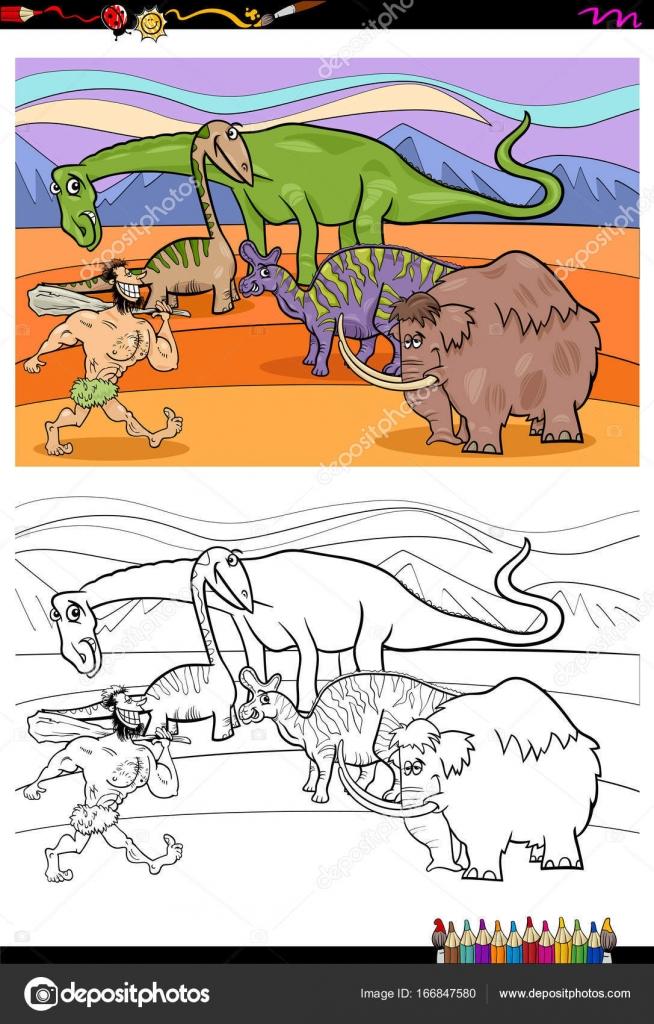 prehistorische stripfiguren kleurplaat boek stockvector