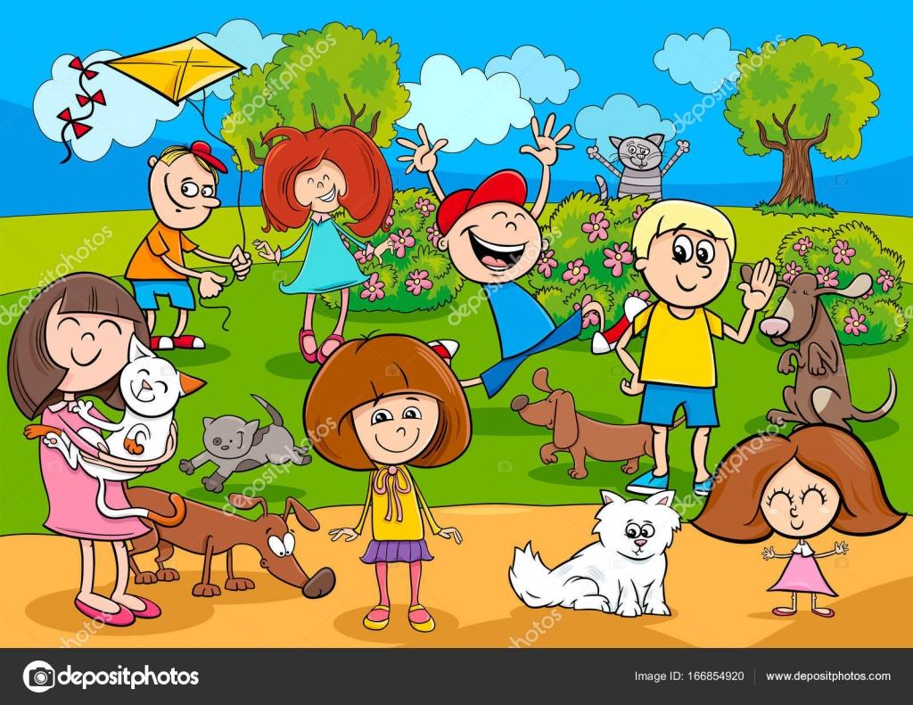 Niños De Dibujos Animados Con Animales Domésticos En El