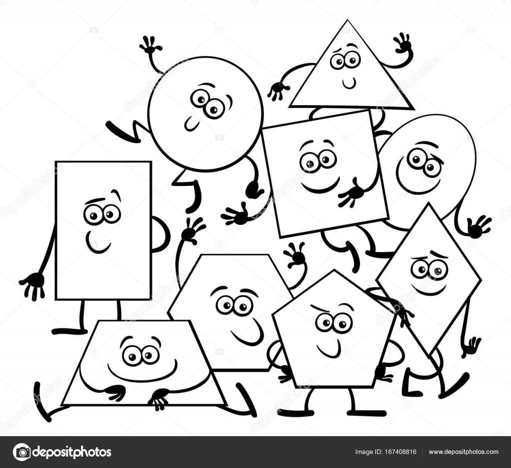 Libro de colorear de formas geométricas dibujos animados — Vector de ...