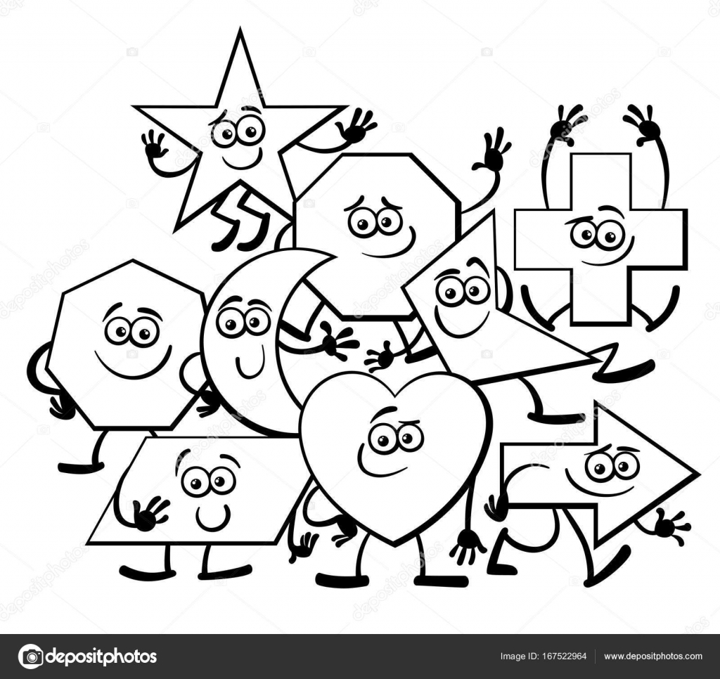 Cartoon Geometric Shapes coloring page — Stock Vector © izakowski ...