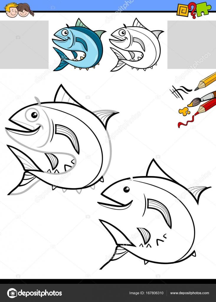 dibujar y colorear hoja de trabajo con pescado — Vector de stock ...