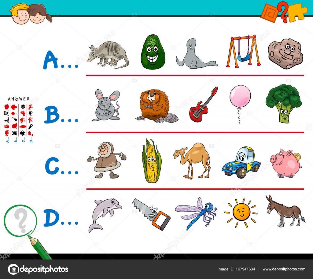 ersten Buchstaben ein Wort Lernspiel für Kinder — Stockvektor ...