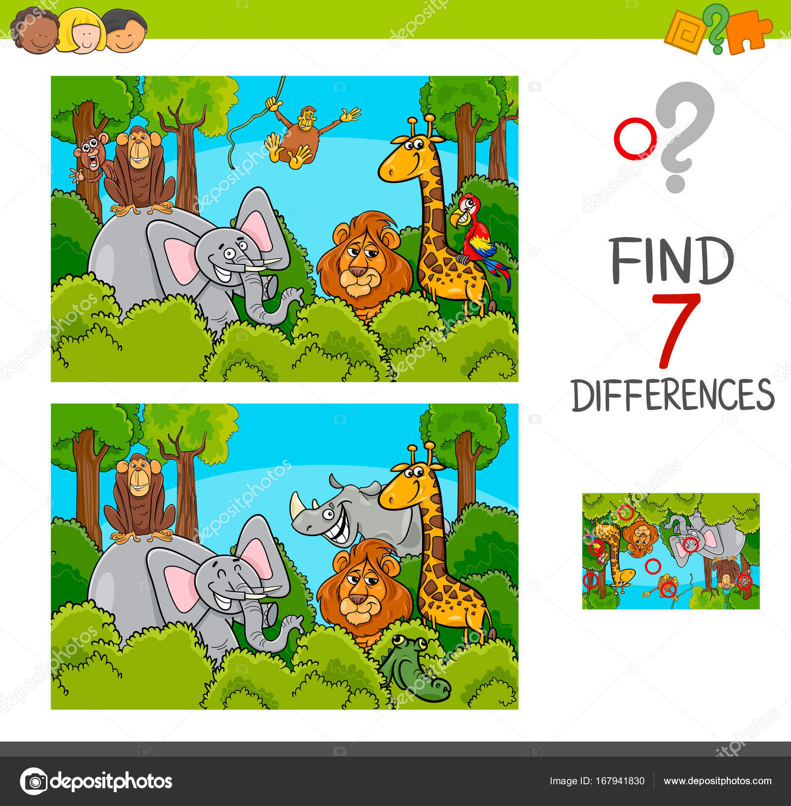 Spot the differences game with wild animals stock vector cartoon illustration of find the differences between pictures educational activity game for children with wild animal characters group vector by izakowski altavistaventures Choice Image