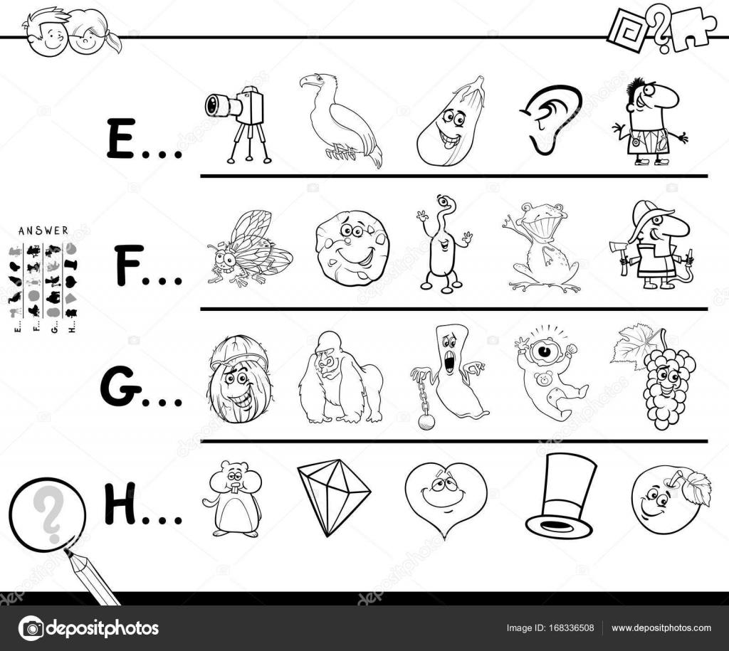 primera letra de una palabra para colorear juego página — Archivo ...