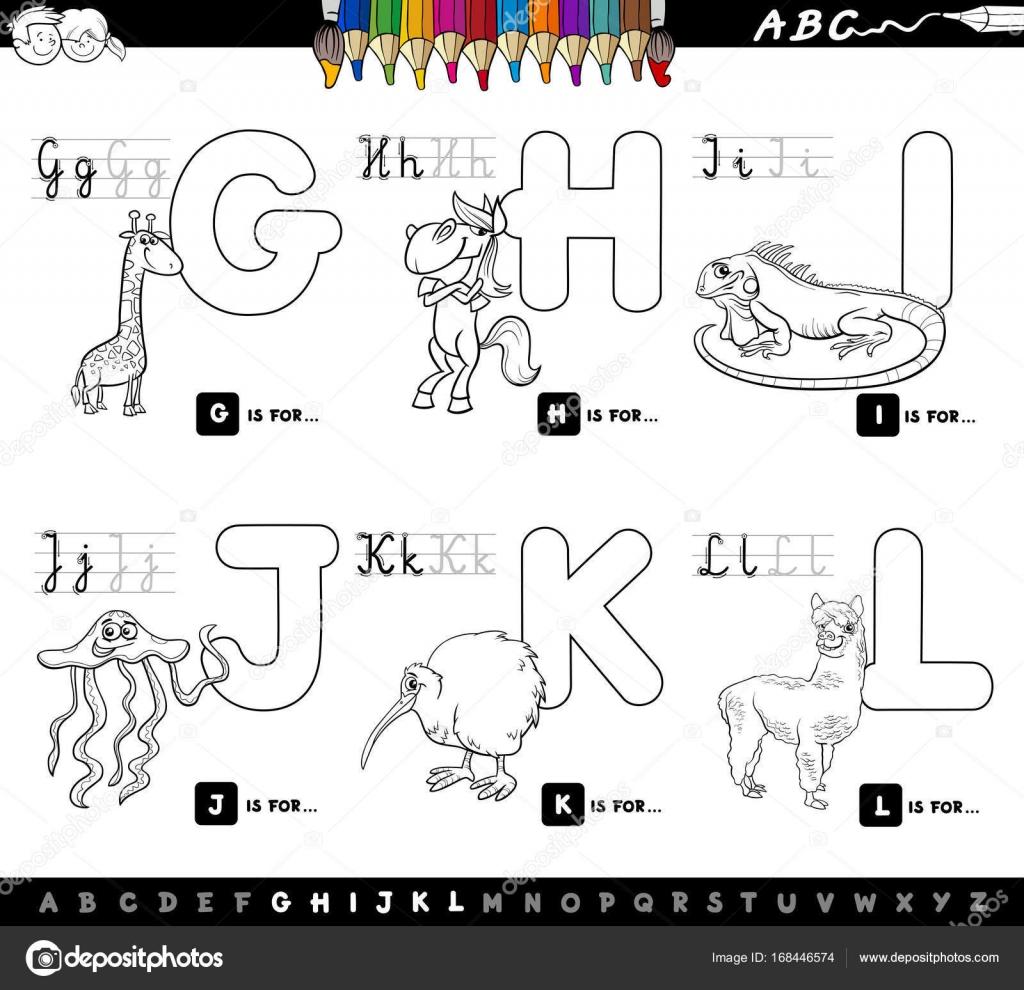 Alfabeto De Dibujos Animados Educativos De Libro De Color Para Niños