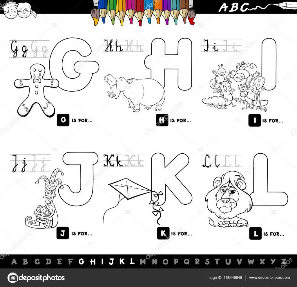 Alfabeto Di Cartoni Animati Educativi Per Bambini Da Colorare Pagina