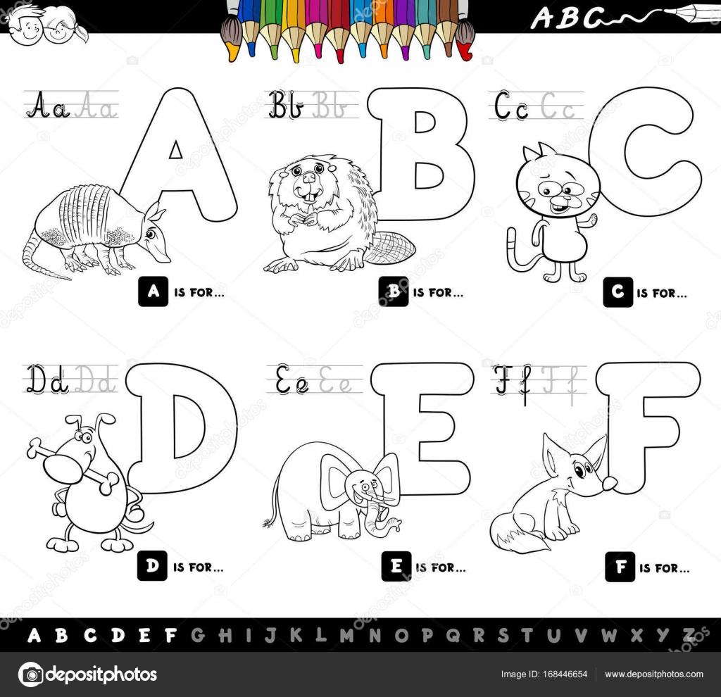 Letras del alfabeto de dibujos animados educativos para colorear ...