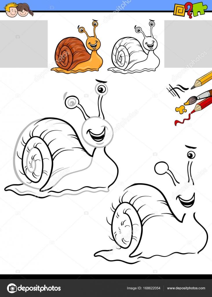 Zeichnung und Färbung Aktivität mit Schnecke — Stockvektor ...