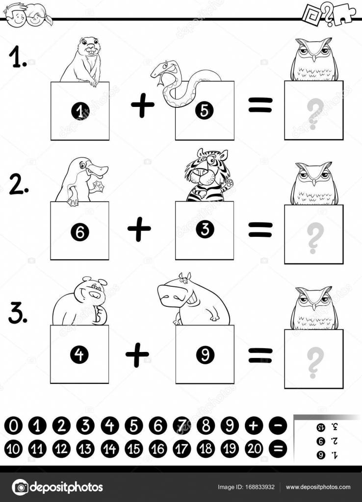 Página para colorear juego educativo de adición — Archivo Imágenes ...