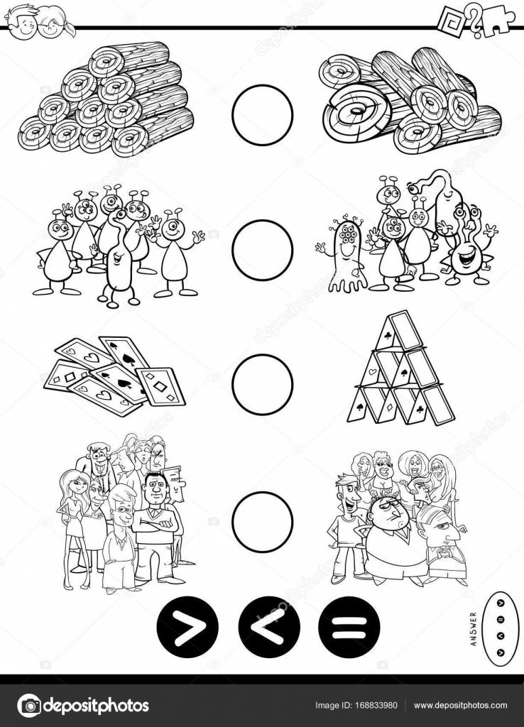 libro para colorear juego menor o igual mayor — Archivo Imágenes ...