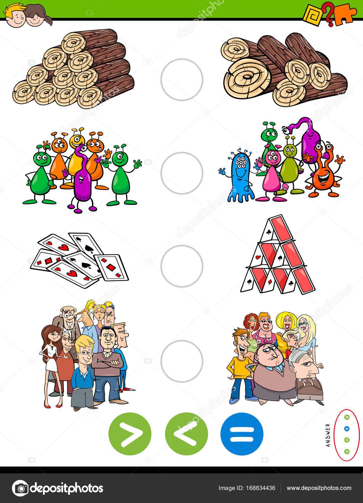 größer kleiner oder gleich Cartoon-Puzzle-Spiel — Stockvektor ...