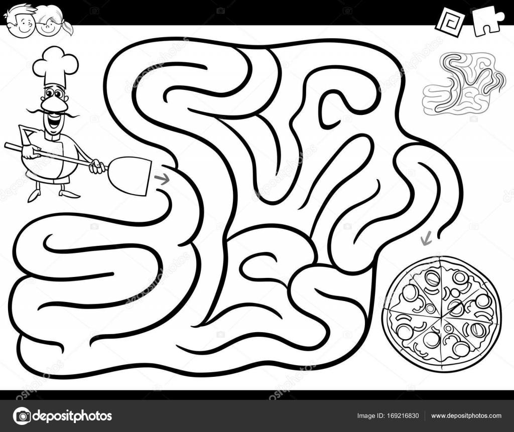 Immagini Cuoco Da Stampare Libro Da Colorare Gioco Labirinto Con