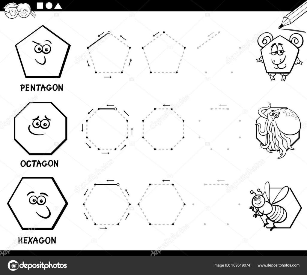 Dibujar Formas Geométricas Para Colorear Página Archivo Imágenes
