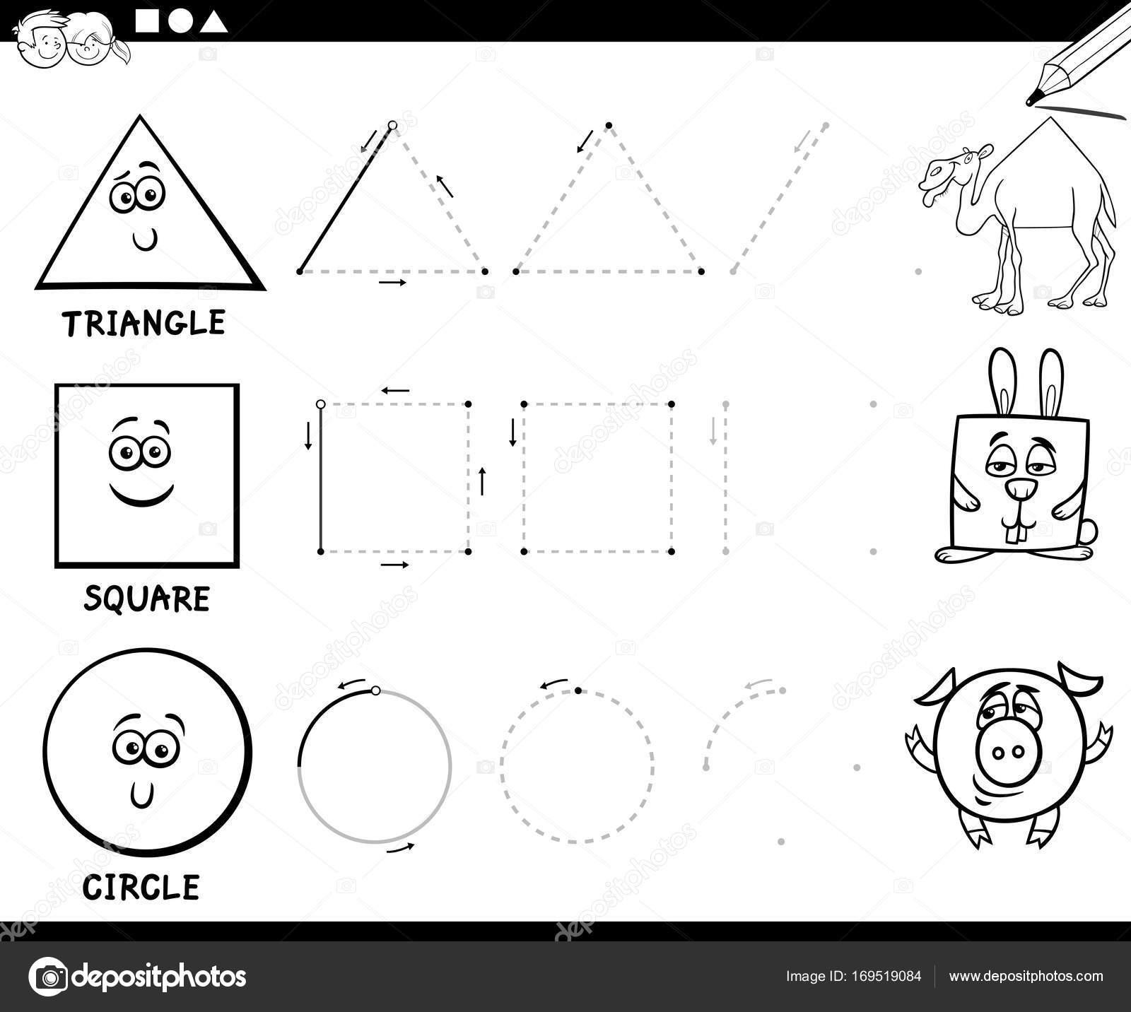 Dibujar Figuras Geométricas Básicas Página Para Colorear