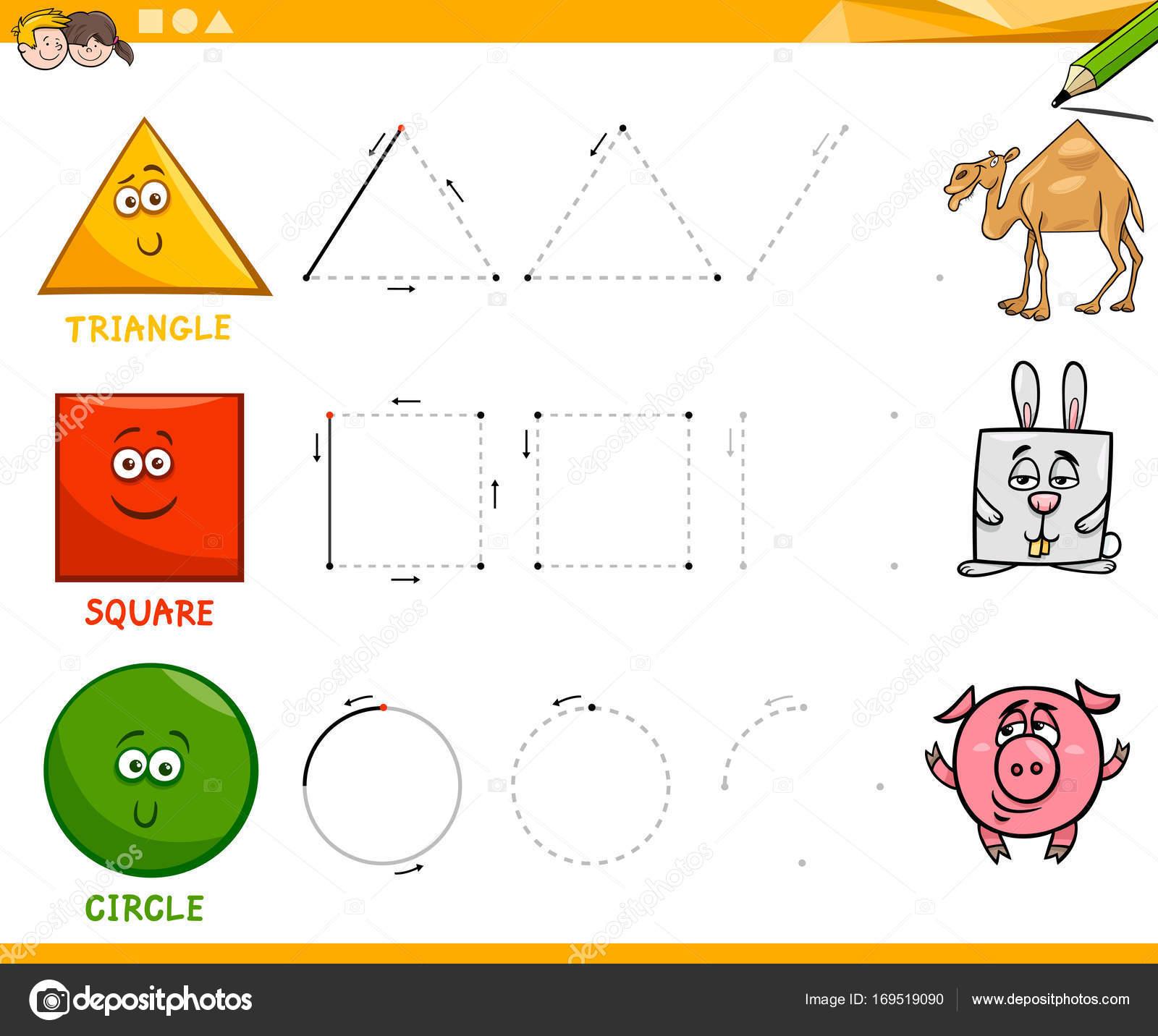 geometrische Grundformen zeichnen Arbeitsblatt — Stockvektor ...