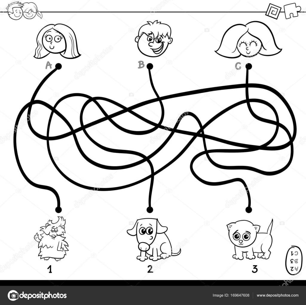 Kleurplaten Huisdieren.Paden Doolhof Met Kinderen En Huisdieren Kleurplaten Pagina