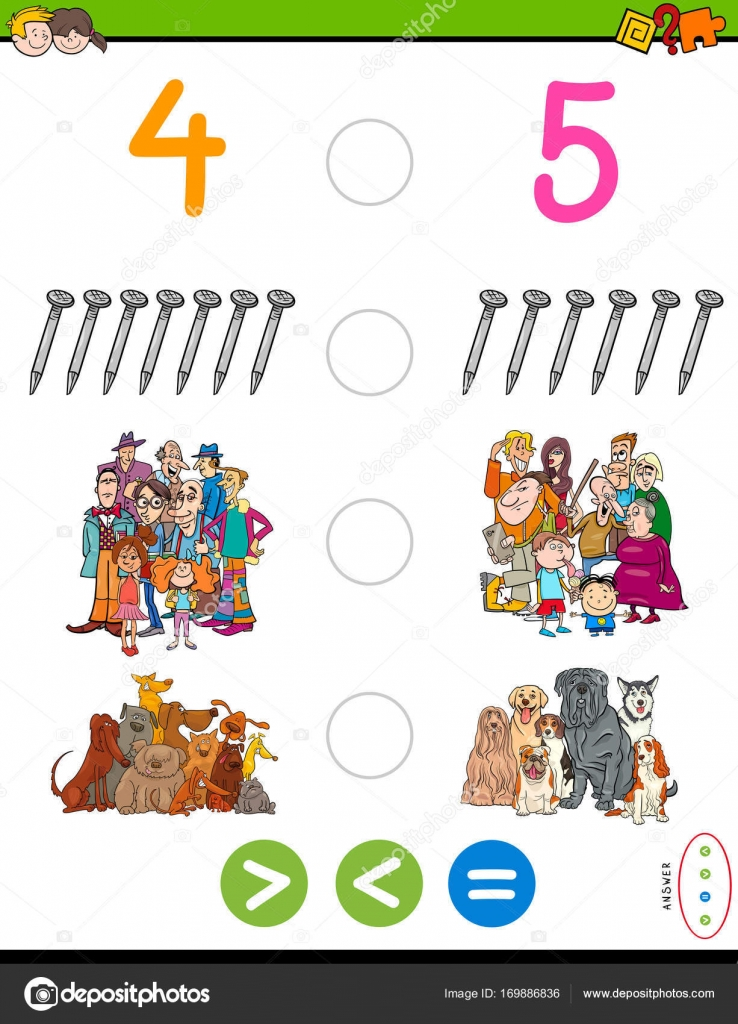 größer kleiner oder gleich Mathe-Puzzle-Spiel — Stockvektor ...
