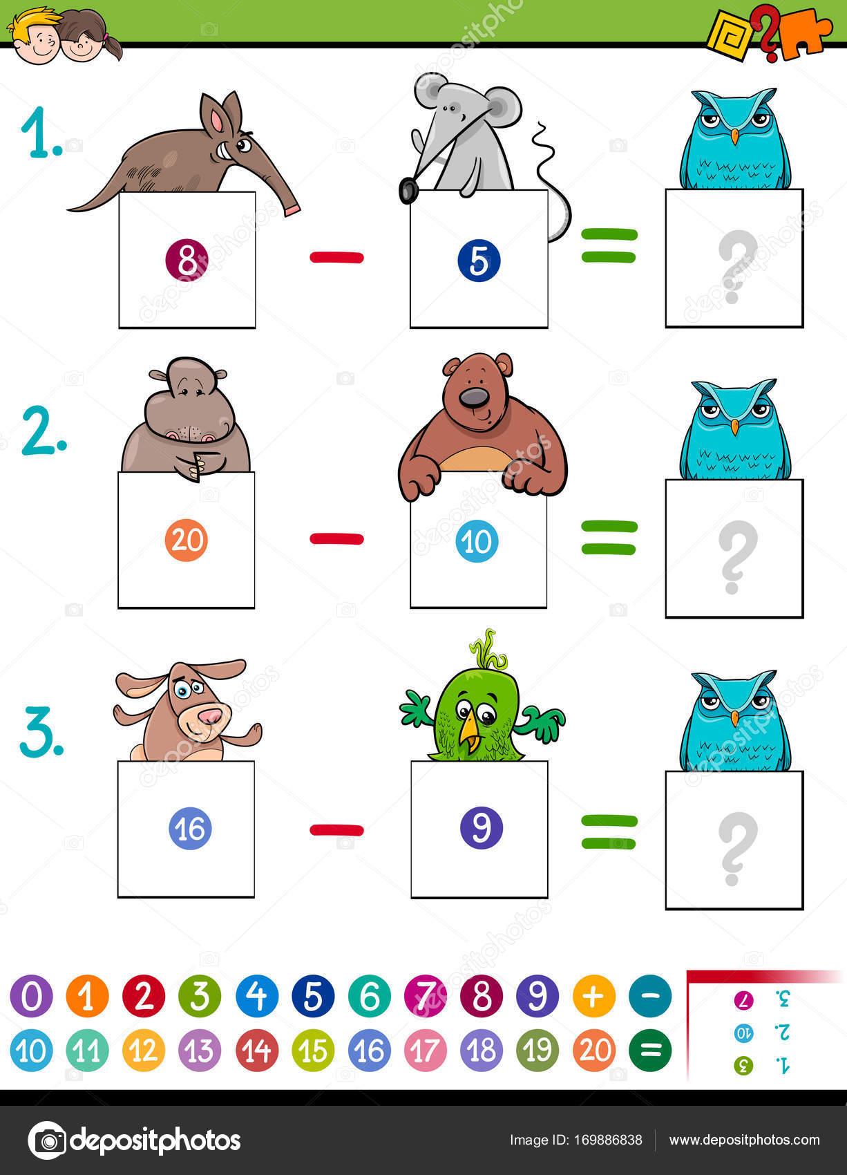 juego educativo de matemáticas además con animales — Vector de stock ...