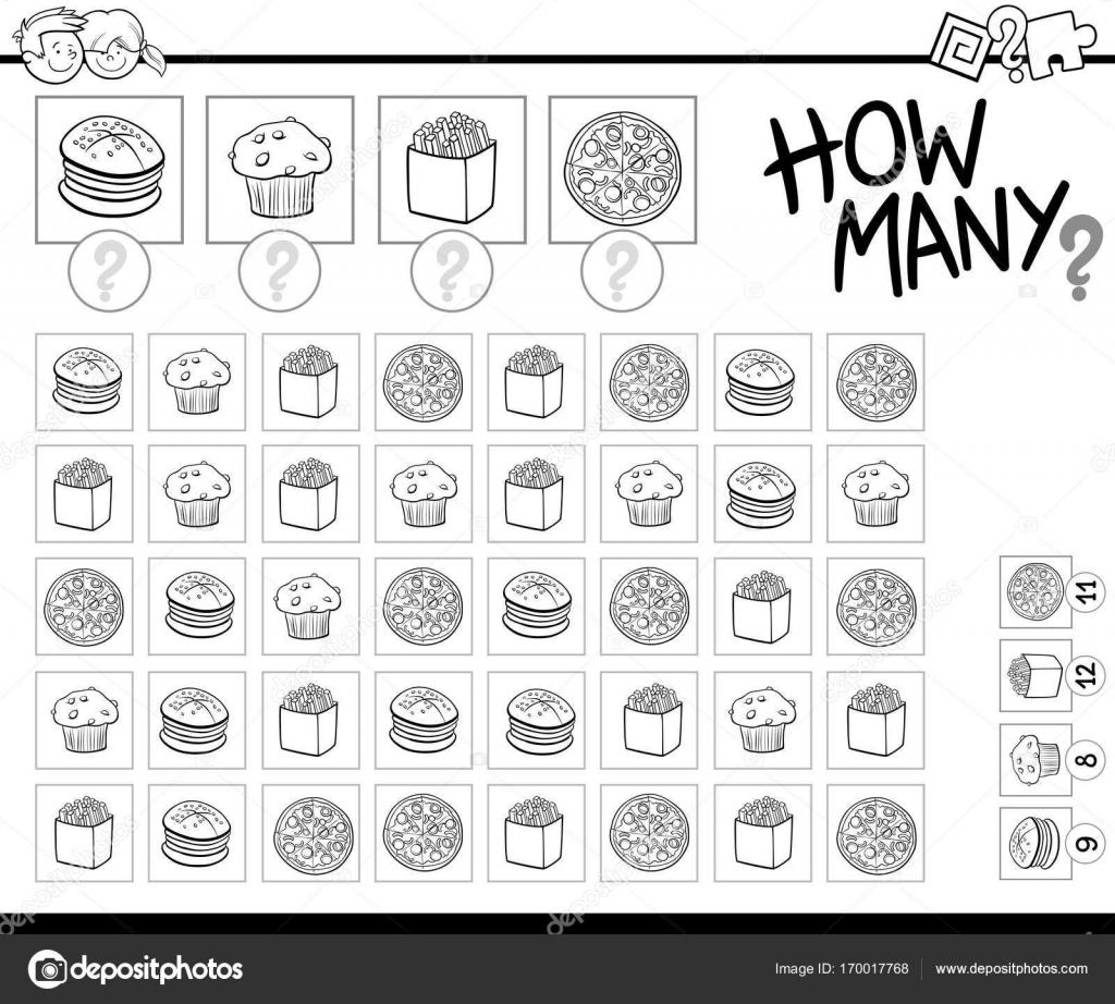 contar objetos de comida para colorear libro — Vector de stock ...