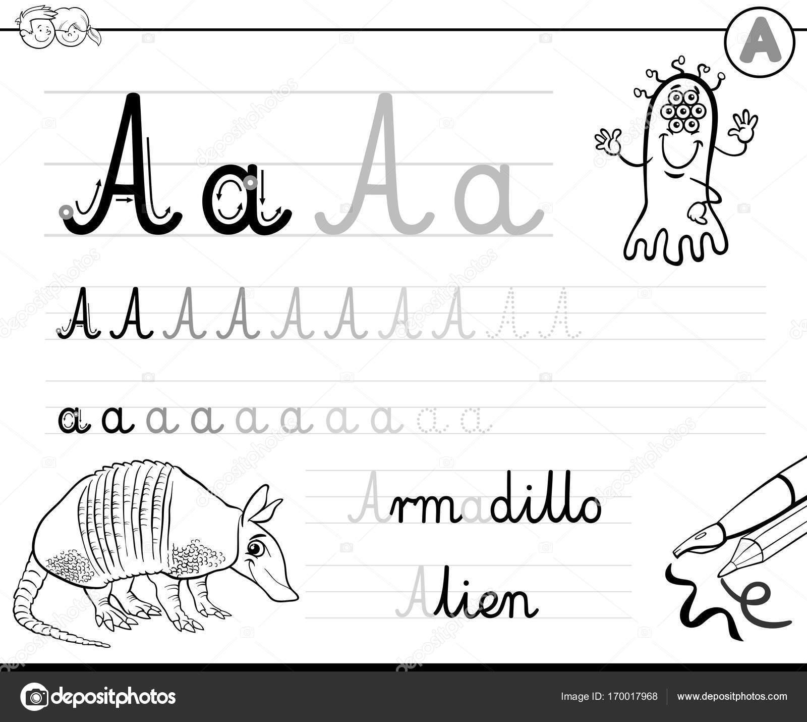 Gewusst wie: schreiben Sie Buchstaben A-Arbeitsblatt — Stockvektor ...