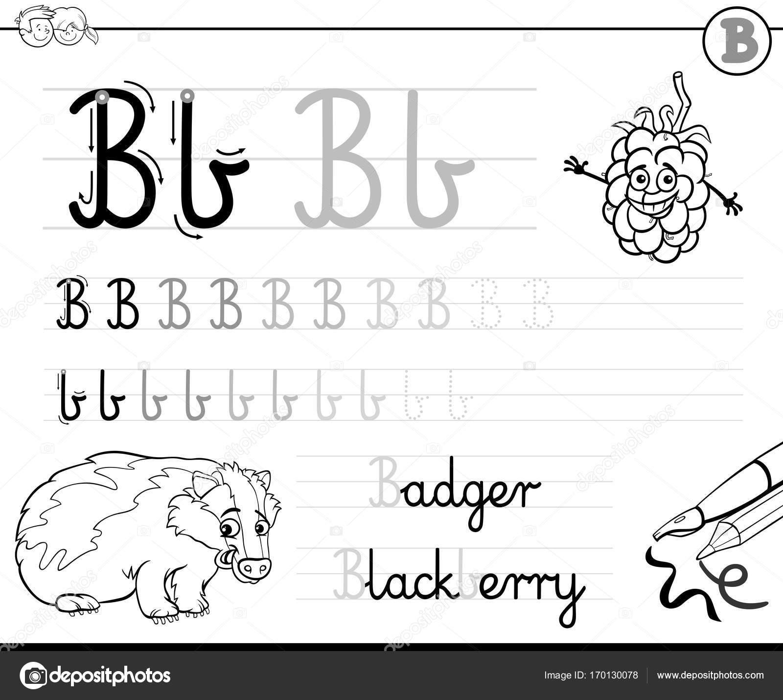 aprender a escribir el libro de la letra B para niños — Vector de ...