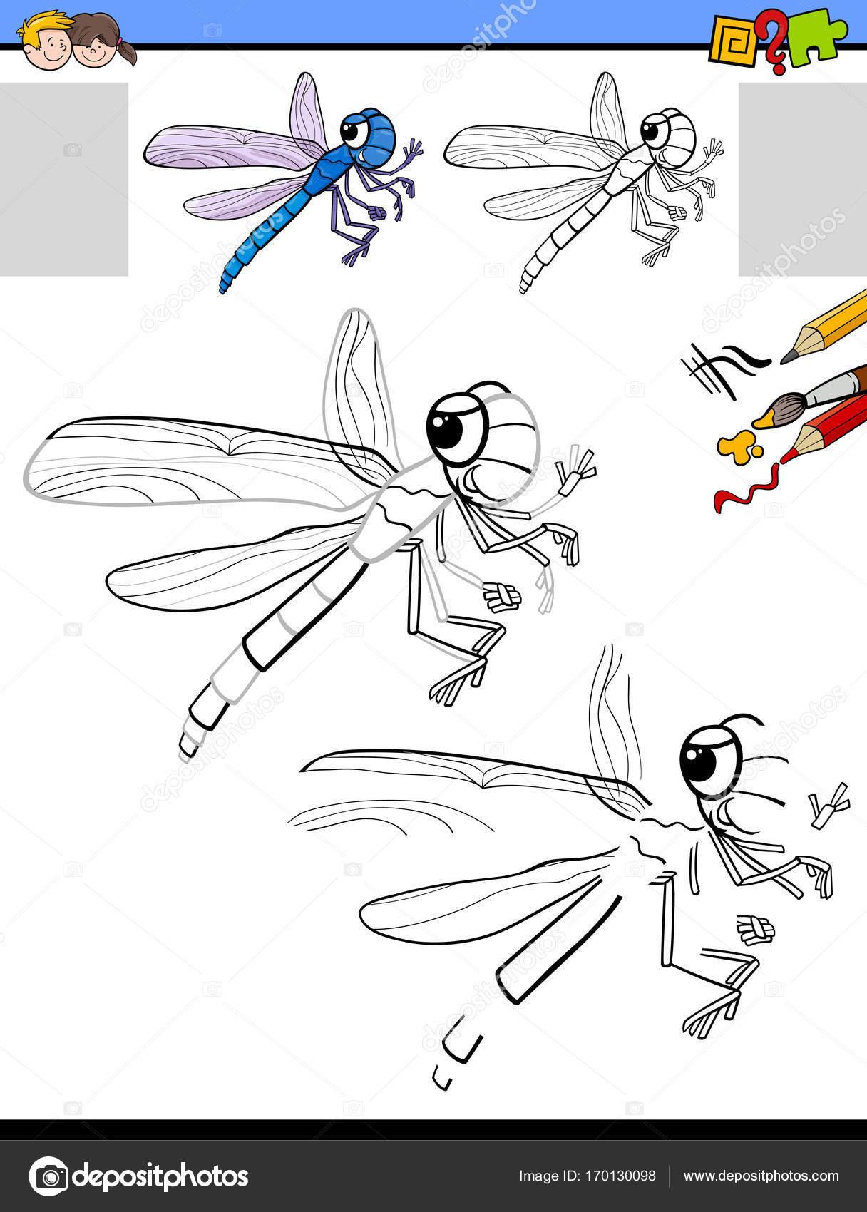 Zeichnung und Färbung Aktivität mit Libelle — Stockvektor ...