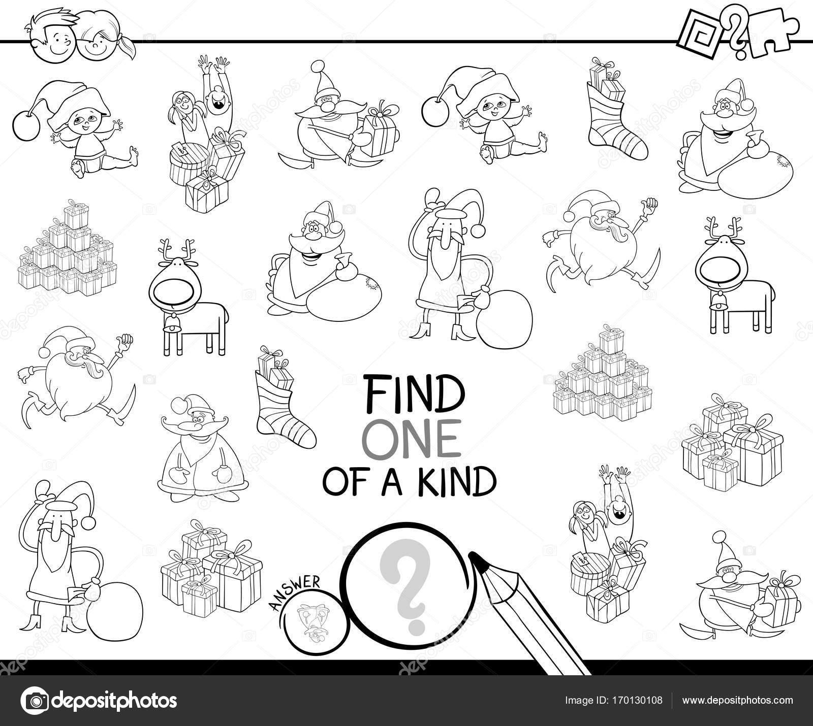 Navidad de un libro de clase para colorear juego — Vector de stock ...