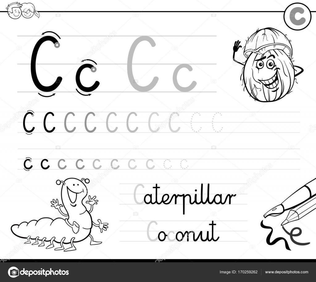 aprender a escribir el libro de la letra C para niños — Vector de ...