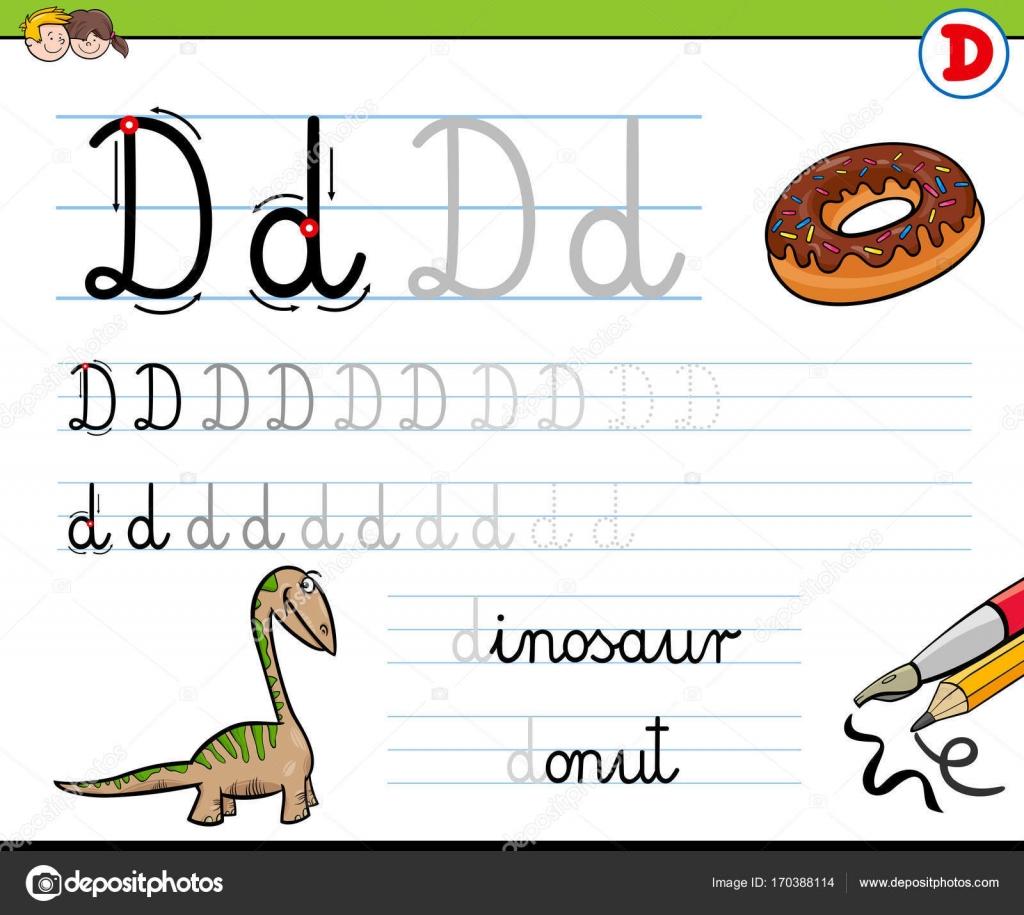 Gewusst wie: schreiben Sie Buchstaben D Arbeitsblatt für Kinder ...